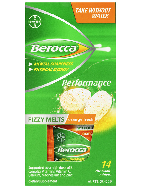 Berocca Fizzy Melts Energy Vitamin Orange Fresh Chewable Tablets 14 pack