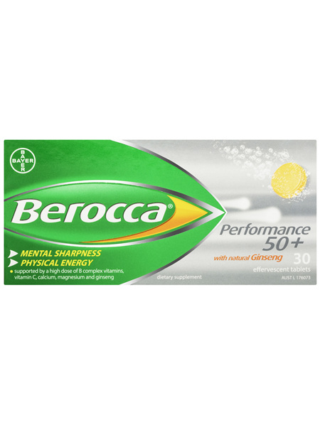 Berocca Focus Energy Vitamin with Ginseng Orange Effervescent Tablets 30 pack