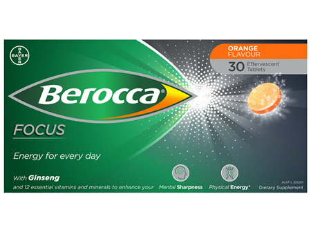 Berocca Focus Vitamin B & C Orange Flavour With Ginseng Energy Effervescent Tablets 30 Pack
