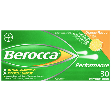 Berocca Performance Energy Vitamin Orange Effervescent Tablets 30 pack