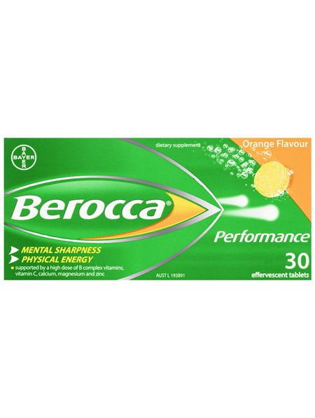 Berocca Performance Energy Vitamin Orange Effervescent Tablets 30 pack