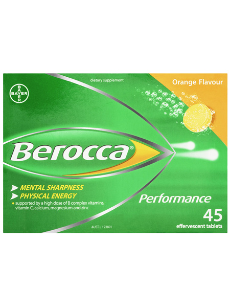Berocca Performance Energy Vitamin Orange Effervescent Tablets 45 pack