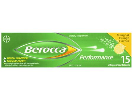 Berocca Vitamin B & C Mango & Orange Flavour Energy Effervescent Tablets 15 Pack