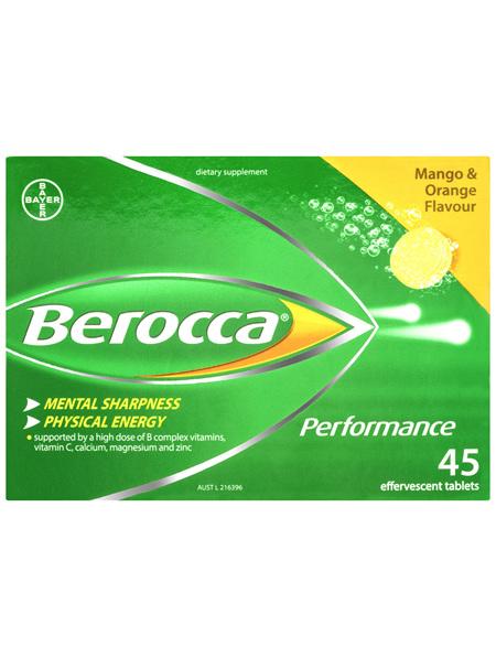 Berocca Vitamin B & C Mango & Orange Flavour Energy Effervescent Tablets 45 Pack