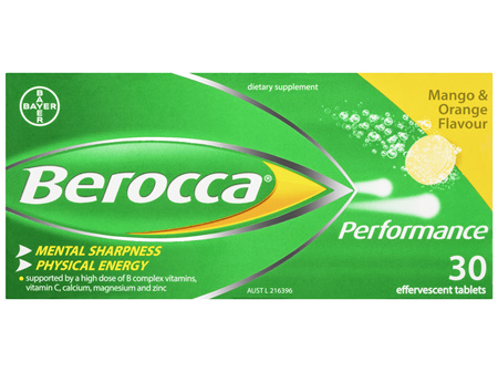 Berocca Vitamin B & C Mango & Orange Flavour Energy Effervescent Tablets 30 Pack
