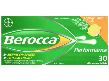 Berocca Vitamin B & C Orange Flavour Energy Effervescent Tablets 30 Pack
