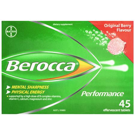 Berocca Vitamin B & C Original Berry Flavour Energy Effervescent Tablets 45 Pack