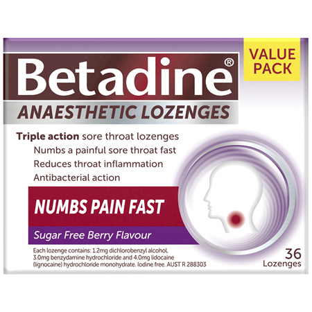 Betadine Anaesthetic Lozenges Berry 36 Pack