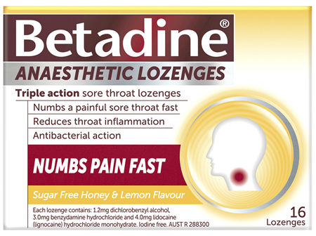 Betadine Anaesthetic Lozenges Honey & Lemon 16 Pack