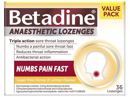 Betadine Anaesthetic Lozenges Honey & Lemon 36 Pack