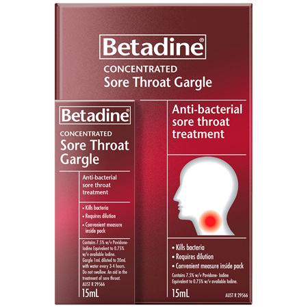 Betadine Sore Throat Gargle Concentrated 15mL