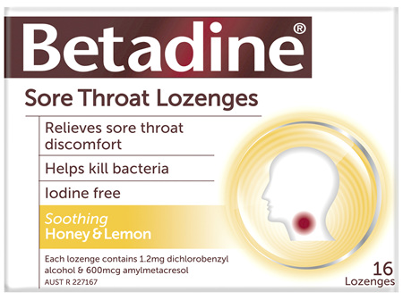 Betadine Sore Throat Lozenges Honey and Lemon 16
