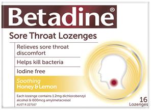 Betadine Sore Throat Lozenges Honey and Lemon 16