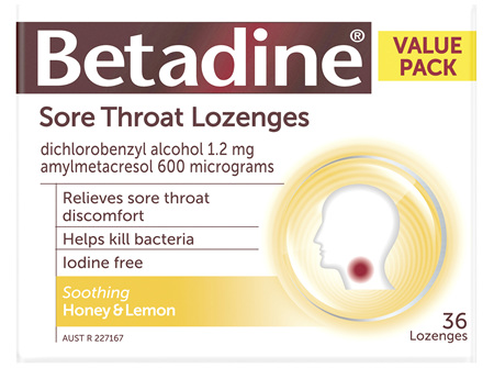 Betadine Sore Throat Lozenges Honey and Lemon 36
