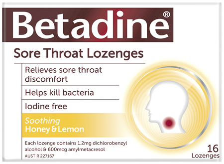 Betadine Sore Throat Lozenges Honey & Lemon 16 Pack