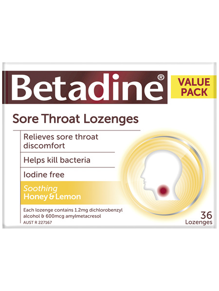 Betadine Sore Throat Lozenges Honey & Lemon 36 Pack