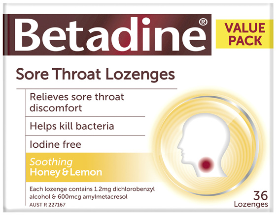 Betadine Sore Throat Lozenges Honey & Lemon 36 Pack