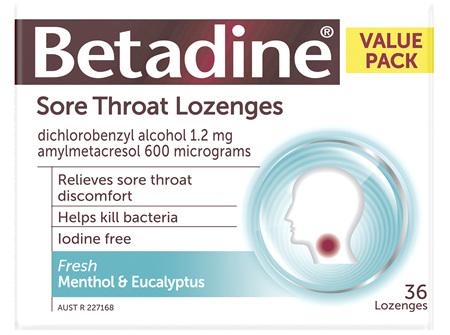 Betadine Sore Throat Lozenges Menthol and Eucalyptus 36