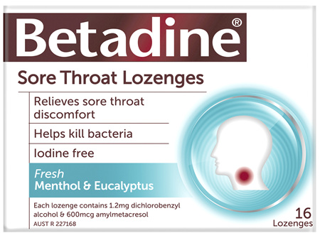 Betadine Sore Throat Lozenges Menthol & Eucalyptus 16 Pack