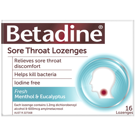 Betadine Sore Throat Lozenges Menthol & Eucalyptus 16 Pack