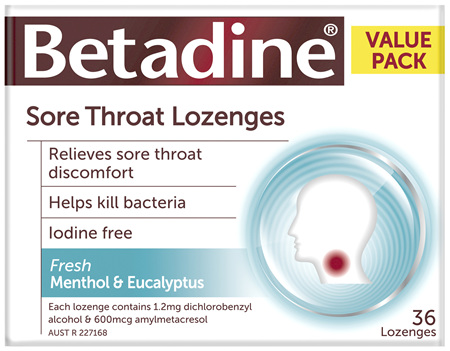 Betadine Sore Throat Lozenges Menthol & Eucalyptus 36 Pack