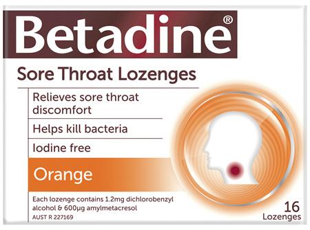 Betadine Sore Throat Lozenges Orange 16 Pack