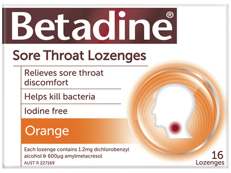 Betadine Sore Throat Lozenges Orange 16 Pack