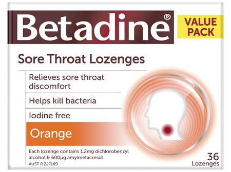 Betadine Sore Throat Lozenges Orange 36 Pack