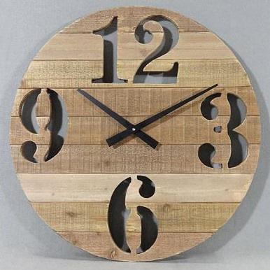 Bettina Wooden Clock - Natural Wood 60cmd