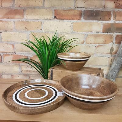 Bidill Wooden Platter W Deco Stripe