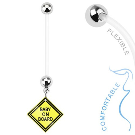 Bio Flex Pregnancy Navel Ring with Baby on Board Sign Dangle