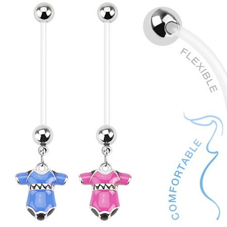 Bio Flex Pregnancy Navel Ring with Baby Onesie Dangle