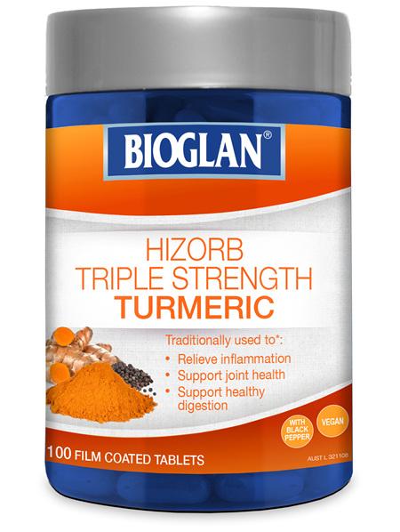 Bioglan Hi-Zorb Triple Strength Turmeric 100 Tablets