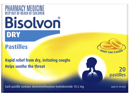 Bisolvon Dry Honey Lime Flavour Pastilles 20 Pack