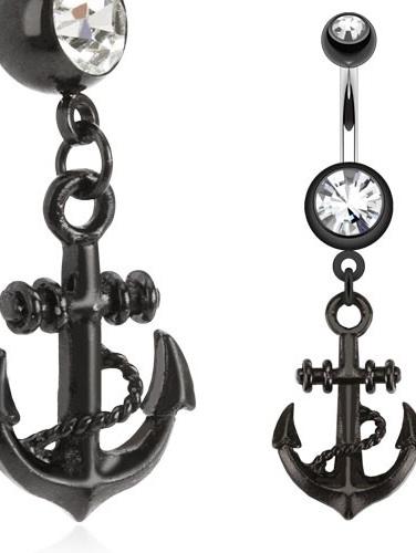 Black Anchor Dangle Navel Ring