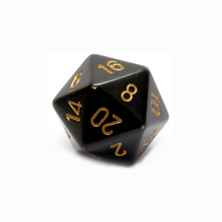 Black with Gold Large Twenty Sided Dice