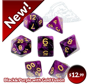 Black and Purple with Gold Fusion Polyhedral Dice Games and Hobbies NZ