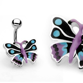 Black Butterfly Bananabell Navel Ring