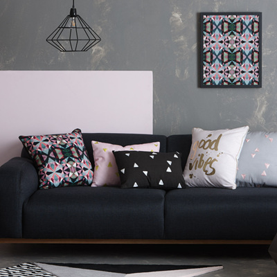 Black Cushion with White Triangles