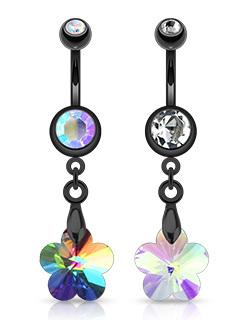 Black Dangle Flower Prism Navel Bar