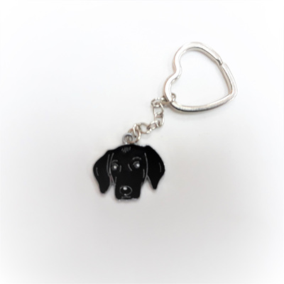 Black Dog Enamel Key Ring