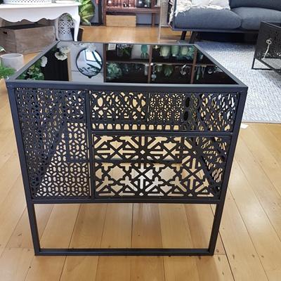 Black Moroccan Side Table W Black Glass