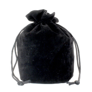 Black Velveteen Drawstring Bag