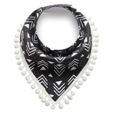 Black & White Aztec Tassle Bandana Bib