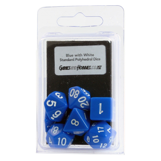 Black with Blue Standard Polyhedral Dice Games and Hobbies New Zealand NZ