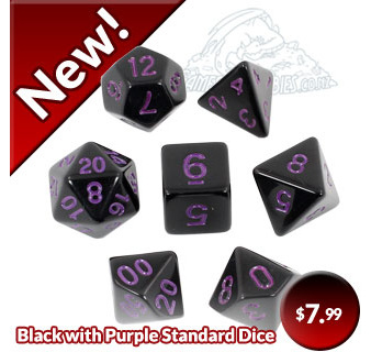 Black with Blue Standard Polyhedral Polyhedral Dice