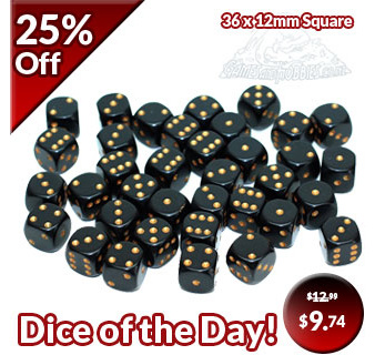 Black with Gold Six Sided Dice