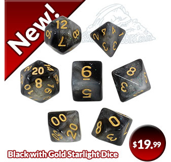 Black with Gold Starlight Polyhedral Dice