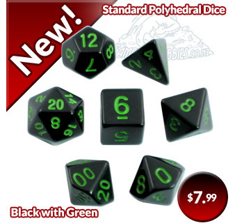 Black with Green Standard Polyhedral Dice