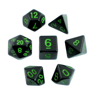 7 Black with Green Standard Dice